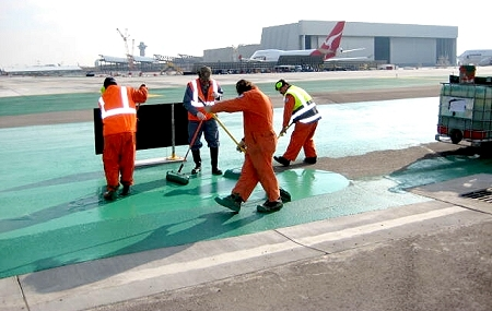 Los Angeles International Airport spreads Egduls asphalt sealer on their tarmacs.