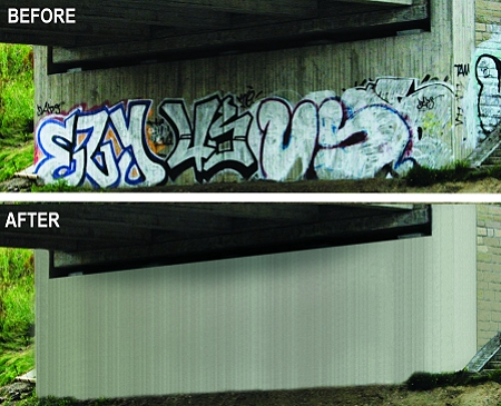 Before and after results using Tag-Out paint